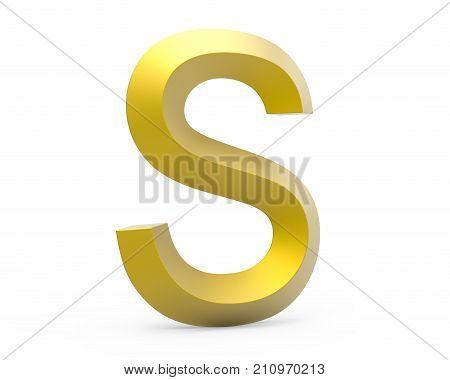 3D Render Golden Beveled Alphabet S
