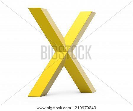 3D Render Golden Beveled Alphabet X