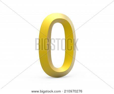 3D Render Golden Beveled Number 0
