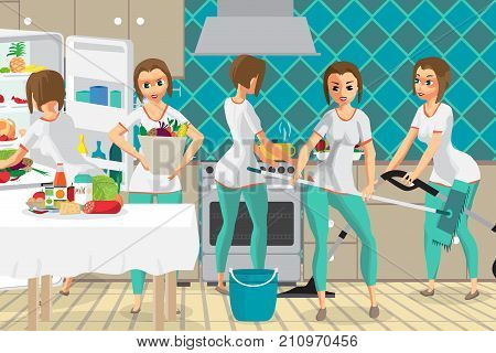 Super woman housewife wife who does several things at the same time in the kitchen. Cleaning, shopping, cooking. Flat cartoon vector illustration