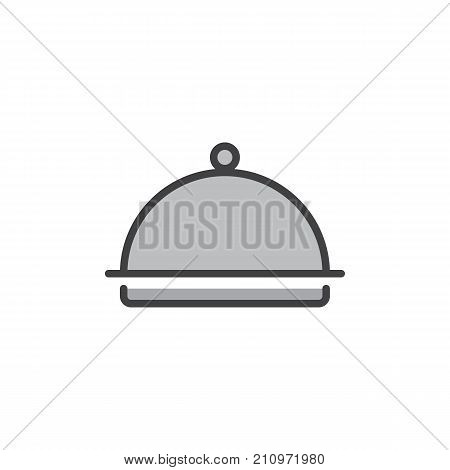 Hotel restaurant food tray filled outline icon, line vector sign, linear colorful pictogram isolated on white. Dome food cover symbol, logo illustration. Pixel perfect vector graphics