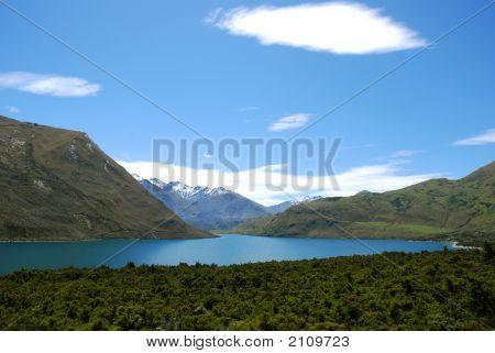 Calm Lake Within Mountain Range