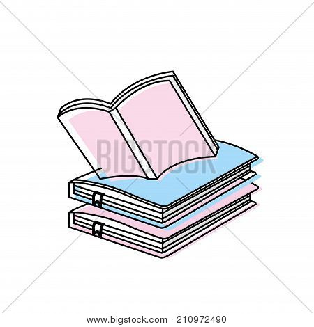 education notebooks object with notepaper design vector illustration