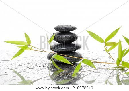 Black stacked stones and bamboo leaf on wet background