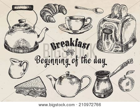 Breakfast illustration. Toaster, bread, toast, apple, fruit, coffee pot, kettle, sandwich, snacks, milk pot, mug, cup, croissant, kettle, spoon, dessert.