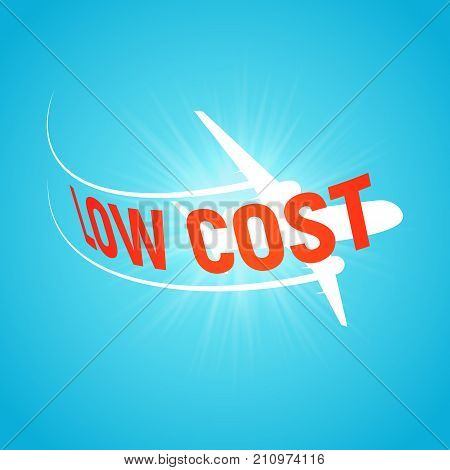 Silhouette of airplane flying in the sky and leaves a trail. Services of low cost travel isolated vector illustration