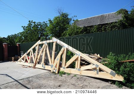 Building roof trusses construction. Building house roofing construction.