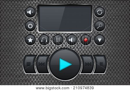 Music player control panel interface on metal perforated background. Vector 3d illustration