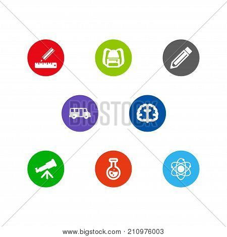 Collection Of School Autobus, Molecule, Marrow And Other Elements.  Set Of 8 Studies Icons Set.