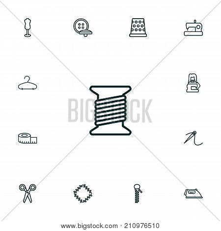 Collection Of Buttons, Tremble, Needle And Other Elements.  Set Of 13 Stitch Outline Icons Set.