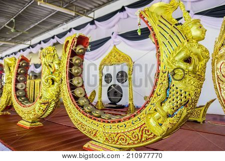 Thai musical instrument gold pattern beautiful . used to beat or knock a melody.