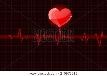 Red electrocardiogram with heart symbol. Vector illustration