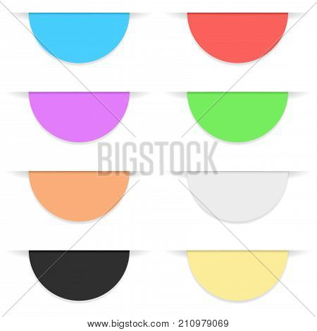 Semi-circle colored paper label with transparent shadow. Vector illustration on white background