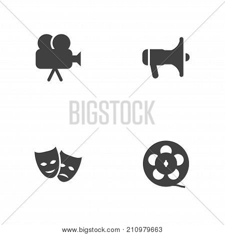 Collection Of Camera, Theater, Filmstrip And Other Elements.  Set Of 4 Amusement Icons Set.