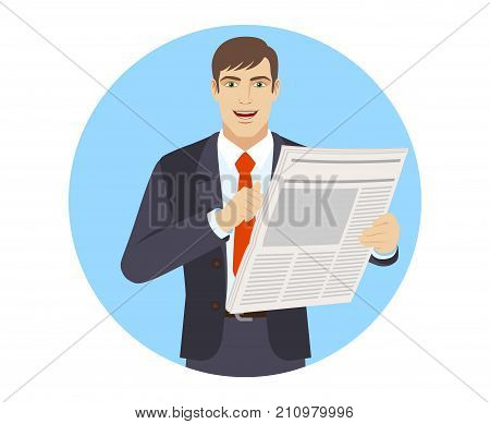 Businessman with newspaper pointing at himself. Portrait of businessman character in a flat style. Vector illustration.