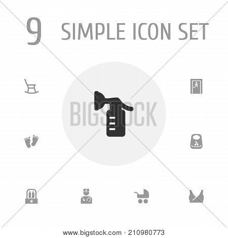 Collection Of Sucker, Pediatrist, Bottle And Other Elements.  Set Of 9 Kid Icons Set.