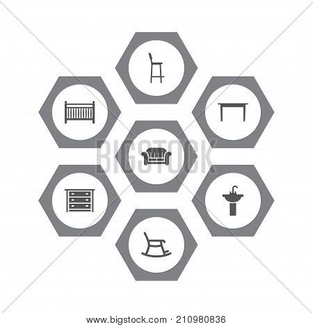 Collection Of Sink, Rocking Furniture, Chair And Other Elements.  Set Of 7 Situation Icons Set.