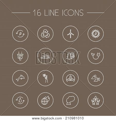 Collection Of Landscape, Renewable Energy, Nature Elements.  Set Of 16 Atmosphere Outline Icons Set.