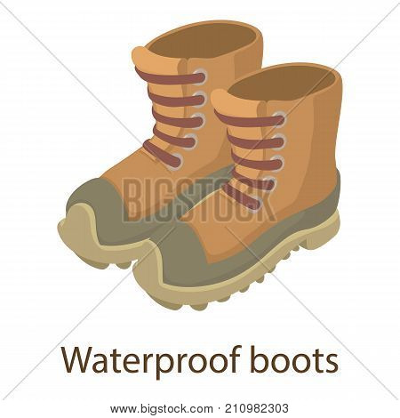 Waterproof boot icon. Isometric illustration of waterproof boot vector icon for web