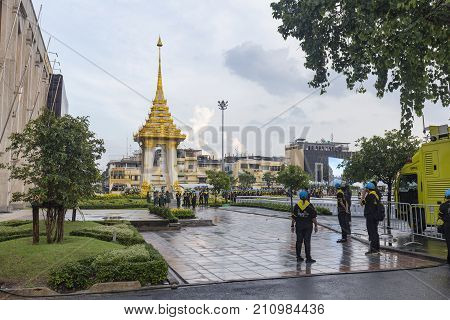 BANGKOK THAILAND - OCTOBER 26: Unidentified people gather for the cremation of Rama 9 the former king at a replica of the crematory next to the BMA building in Bangkok Thailand on October 26 2017.