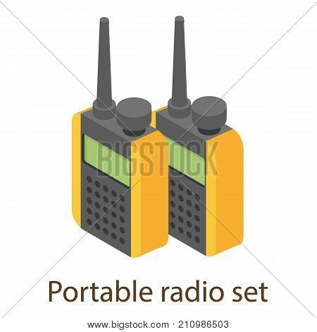 Portable radio icon. Isometric illustration of portable radio vector icon for web
