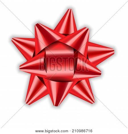 Bow Ribbon Red Christmas Vector Illustration