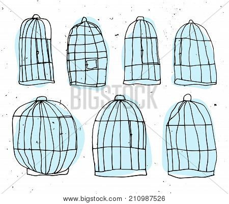 Birdcage hand draw vector illustration. Bird cell sketch with light texture isolated on white background