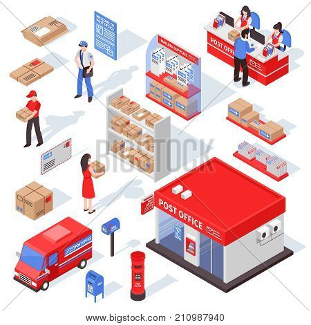 Post service isometric set with postman  recipient forwarding agent figurines racks with parcels and correspondence isolated vector illustration