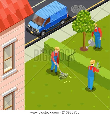 Gardener isometric composition with urban scenery and residential building with car and group of gardeners in uniform vector illustration