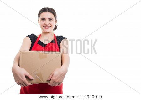 Happy Young Salesperson Holding Cardboard Box Or Parcel