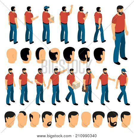 Creation set of man characters and different types of hairstyle for create animation isolated vector illustration