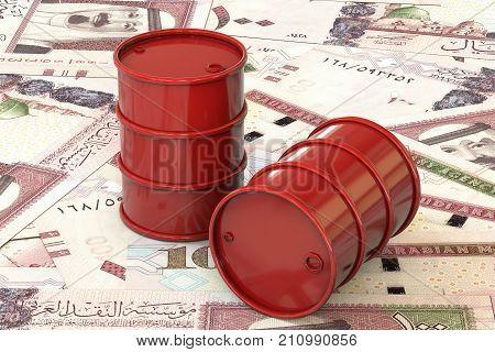 3d illustration: Red barrels of oil lie on background of banknote one hundred riyals, Saudi Arabia. Petroleum business, black gold, gasoline production. Purchase sale, auction, stock exchange.