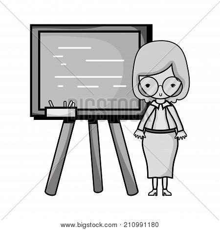 grayscale teacher teaching class lesson in the backcoard vector illustration