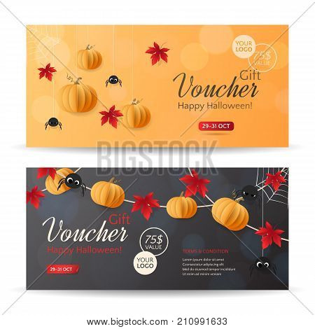 Vector set of gift vouchers for Halloween Sale with paper pumpkins, spiders and red maple leaves. Holiday orange, dark background for gift card, coupon and certificate for special and discount offers