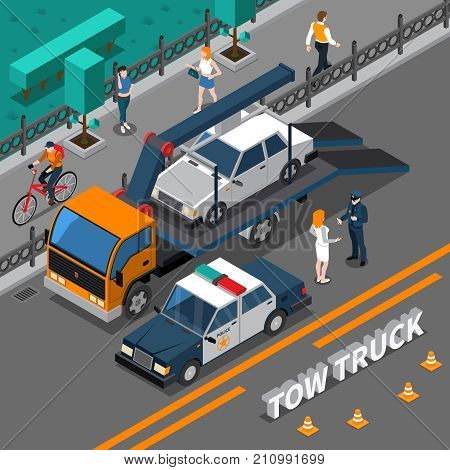 Isometric composition with tow truck carrying illegally parked car, policeman talking with woman vector illustration