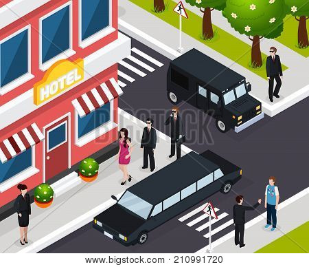 Special agent isometric composition with sexy woman walking towards hotel under safeguard for important mission vector illustration