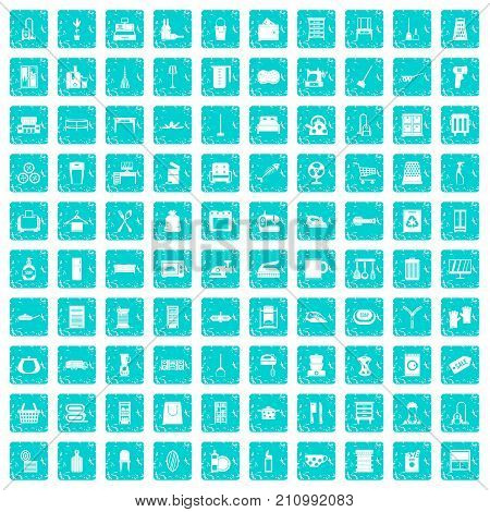 100 housework icons set in grunge style blue color isolated on white background vector illustration