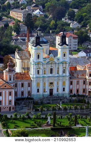 Kremenets, Ukraine. Jesuit Monastery and Collegium. Consisting of a two-tower Catholic church and adjoined study buildings in the late baroque style, the ensemble of the Jesuit Monastery and Collegium strikes with its beauty and grandeur.