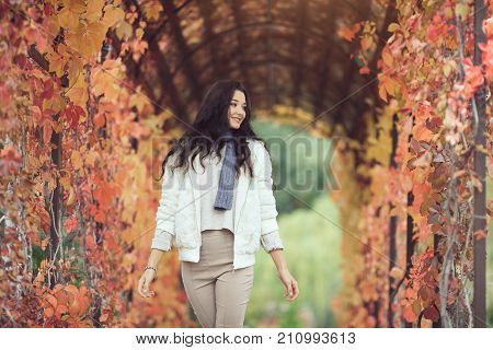 Autumn Beauty. Romantic woman in the Autumn Park Outdoors in Sunny Day. Portrait of happy lovely and beautiful mixed race Asian Caucasian young girl outdoor against blurred bokeh nature background. Fashion model in white casual clothes walking and looking