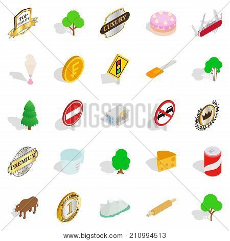 Meadow icons set. Isometric set of 25 meadow vector icons for web isolated on white background