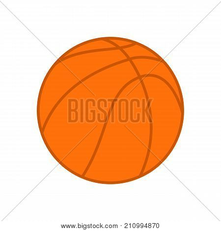 Basketball ball. Orange basketball ball. Vector silhouette. Vector icon isolated on white background. Colorful illustration in flat style.