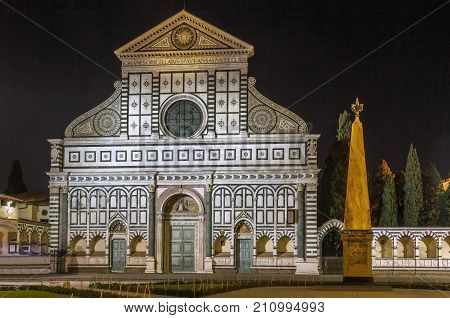 Santa Maria Novella is a church in Florence Italy. Chronologically it is the first great basilica in Florence and is the city's principal Dominican church. Facade in evening