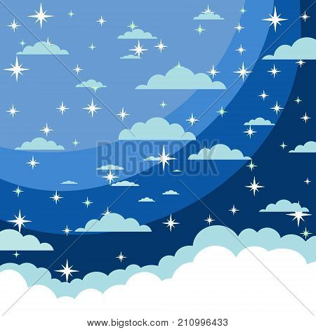 Vector background. Starry night sky. Stars, sky, night Stock flat illustration