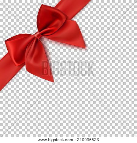 Realistic red bow and ribbon isolated on transparent background. Vector illustration.