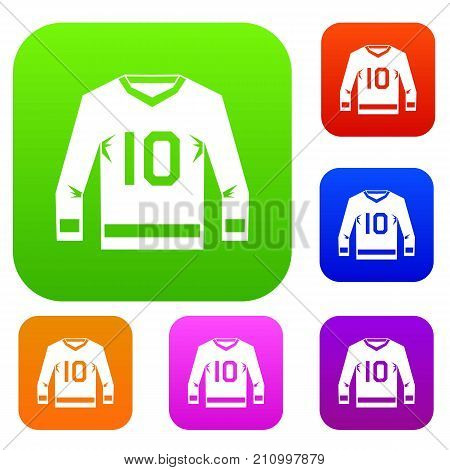 Hockey jersey set icon color in flat style isolated on white. Collection sings vector illustration