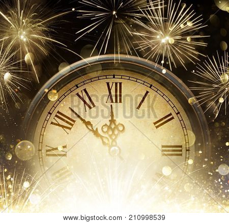 Waiting Midnight - Clock And Fireworks - Happy New Year