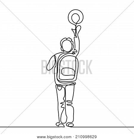 Boy With Ball Going Back To School With Bag