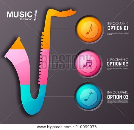 Music instrument infographic template with three colorful round buttons saxophone and musical notes vector illustration
