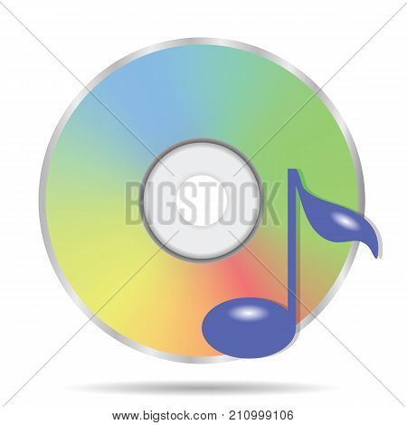 colorful illustration with compact disc icon on a white background