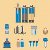 Water purification icon faucet fresh recycle pump set. Wastewater treatment collection vector illustration. Flat design natural plumbing pipeline industrial plant filtered sign. poster